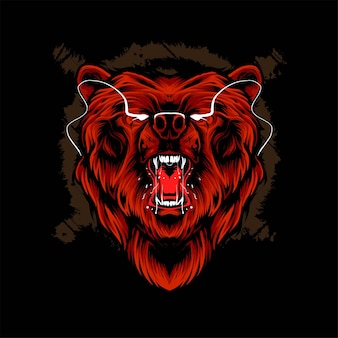 Ilustracja wektorowa głowa niedźwiedzia. nadaje się do t-shirtów, nadruków i produktów odzieżowych