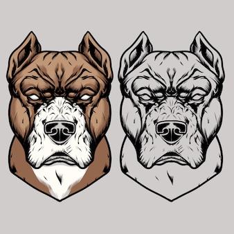 Ilustracja wektorowa głowa pitbull rysunek ręka