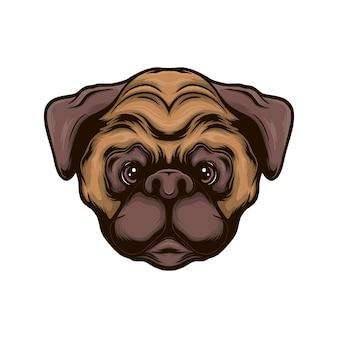 Ilustracja wektorowa głowa psa mops