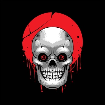 Ilustracja wektorowa głowy czaszki, odpowiednia dla produktu t-shirt, print i merchandise