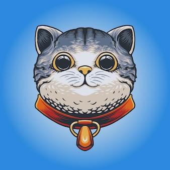 Ilustracja wektorowa głowy ładny kot