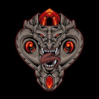 Ilustracja wektorowa głowy potwora kobry