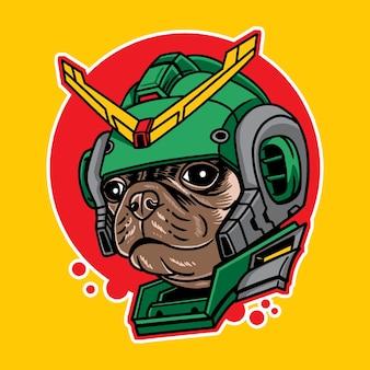 Ilustracja wektorowa głowy psa mopsa w stylu robota cyberpunk na białym tle