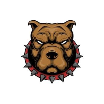 Ilustracja wektorowa głowy psa pitbull