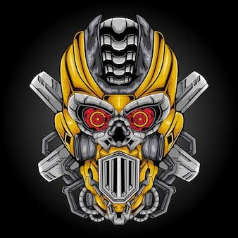 Ilustracja wektorowa głowy robota maskotka