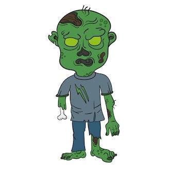 Ilustracja wektorowa gniewnego zielonego zombie z kreskówek