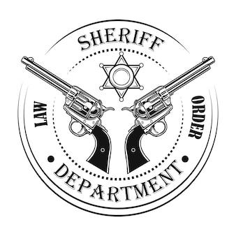 Ilustracja wektorowa godło departamentu szeryfa. pistolety i tekst, okrągły znaczek