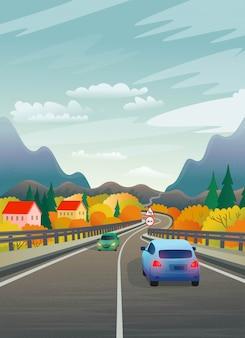 Ilustracja wektorowa górskiej drogi z samochodami i wioską. płaskie ilustracja w stylu cartoon.