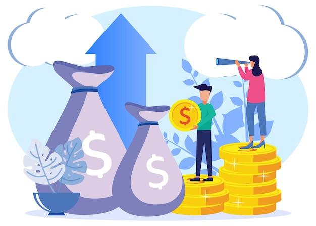 Ilustracja wektorowa graficzny kreskówka koncepcja kapitału, inwestycji