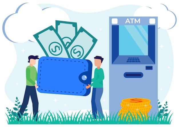 Ilustracja wektorowa graficzny kreskówka transakcji finansowych
