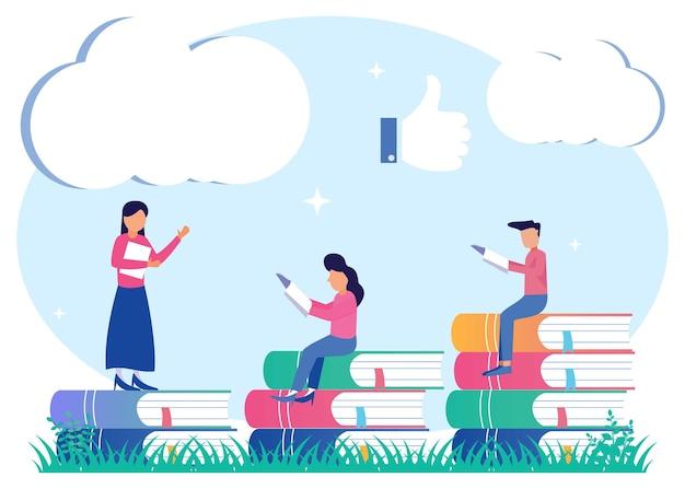Ilustracja wektorowa graficzny kreskówka wsparcia edukacyjnego