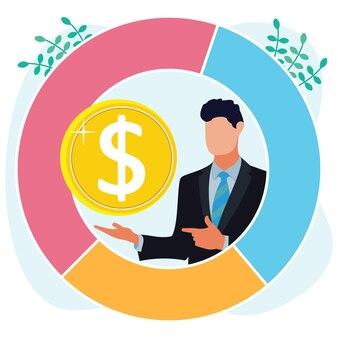 Ilustracja wektorowa graficzny postać z kreskówek dochodów z biznesu