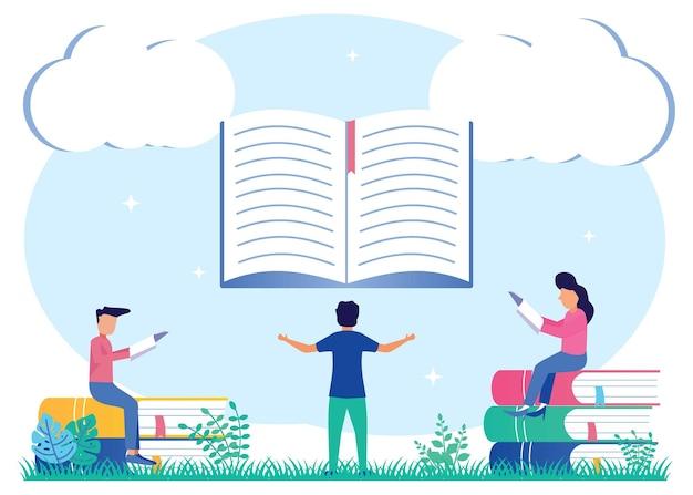Ilustracja wektorowa graficzny postać z kreskówek edukacji i zainteresowania czytaniem