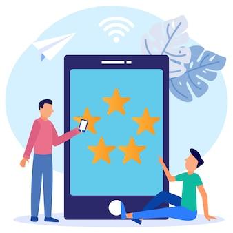 Ilustracja wektorowa graficzny postać z kreskówek oceny konsumentów