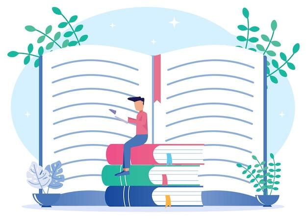 Ilustracja wektorowa graficzny postać z kreskówek wiedzy z książek