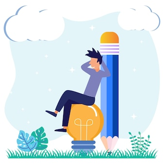 Ilustracja wektorowa graficzny postać z kreskówek wynalazków i kreatywnych pomysłów