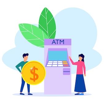 Ilustracja wektorowa graficzny postać z kreskówek z wypłaty pieniędzy