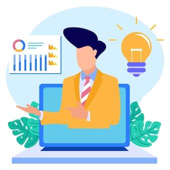 Ilustracja wektorowa graficzny postać z kreskówki analizy biznesowej