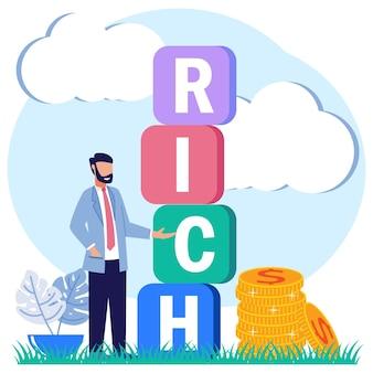 Ilustracja wektorowa graficzny postać z kreskówki bogatych