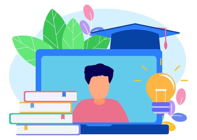 Ilustracja wektorowa graficzny postać z kreskówki edukacji online
