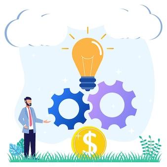 Ilustracja wektorowa graficzny postać z kreskówki kreatywnych innowacji biznesowych