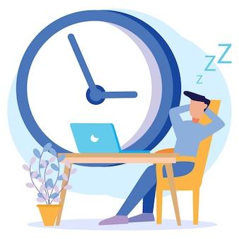 Ilustracja wektorowa graficzny postać z kreskówki marnowania czasu