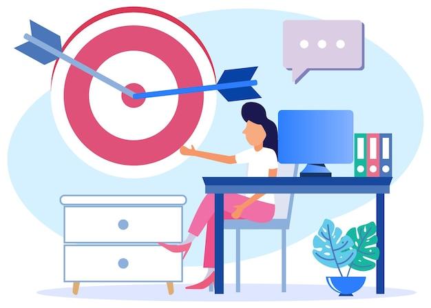 Ilustracja wektorowa graficzny postać z kreskówki o dokładności celu biznesowego