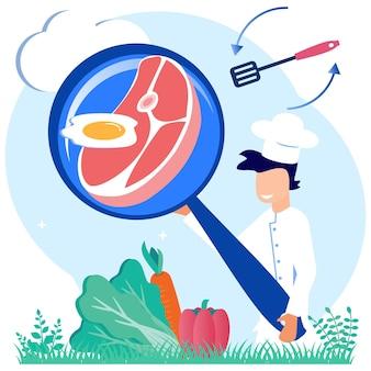 Ilustracja wektorowa graficzny postać z kreskówki profesjonalnego kucharza gotowania