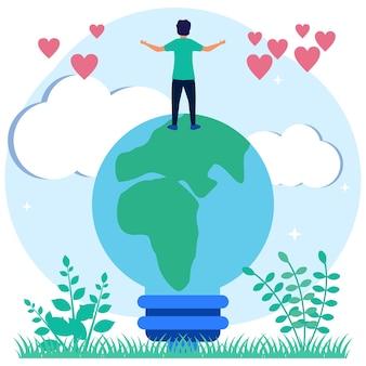 Ilustracja wektorowa graficzny postać z kreskówki technologii przyjaznej dla środowiska
