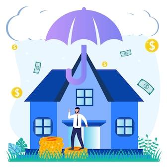 Ilustracja wektorowa graficzny postać z kreskówki ubezpieczenia domu