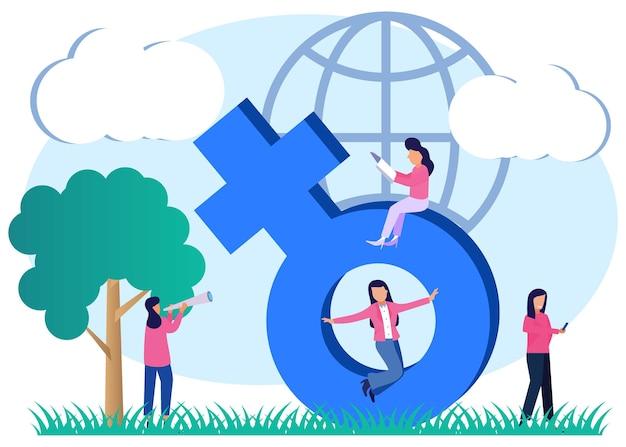 Ilustracja wektorowa graficzny postać z kreskówki upodmiotowienia kobiet