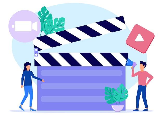 Ilustracja wektorowa graficzny postać z kreskówki usług produkcji wideo