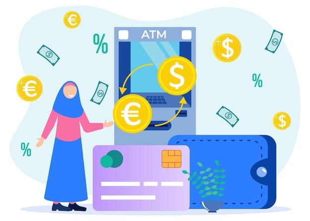 Ilustracja wektorowa graficzny postać z kreskówki wymiany walut