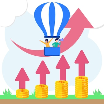 Ilustracja wektorowa graficzny postać z kreskówki wzrostu i postępu biznesu