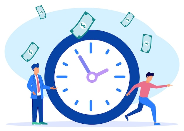 Ilustracja wektorowa grafika kreskówka czas to pieniądz