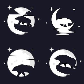 Ilustracja wektorowa grafika niedźwiedzia grizzly na tle księżyca. idealny do użycia na koszulkę lub imprezę!