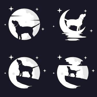 Ilustracja wektorowa grafika psa beagle na tle księżyca. idealny do użycia na koszulkę lub imprezę!