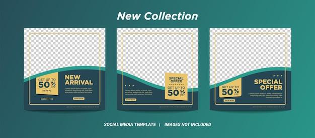 Ilustracja wektorowa grafiki zestaw edytowalny minimalny szablon transparent kwadratowy. czarny zielony kolor tła z kształtem linii paski. nadaje się do postów w mediach społecznościowych i internetowych reklam internetowych z kolekcją zdjęć