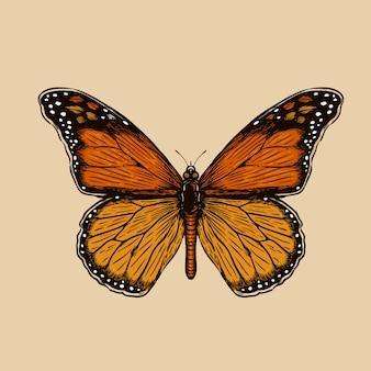 Ilustracja wektorowa grawerowanie motyl