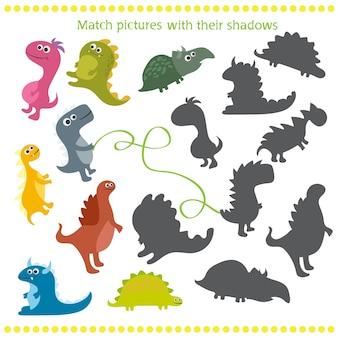 Ilustracja wektorowa gry w dopasowywanie cieni z dinozaurem z kreskówek dla dzieci