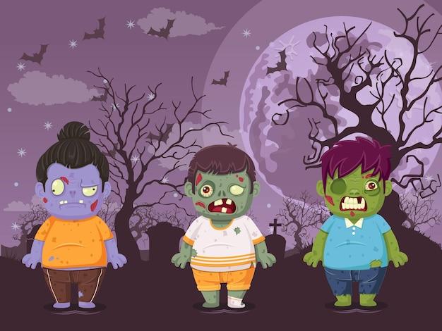 Ilustracja wektorowa halloween na tle nocy księżyca z zombie. ilustracja używana do projektowania świątecznych dla dzieci i dzieci, kart, banerów