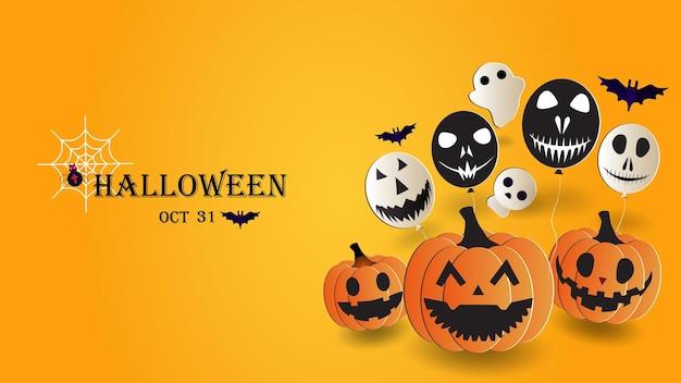 Ilustracja wektorowa halloween na żółtym tle. duch, czaszka, nietoperze, dynie, balony potworów, pajęczyny. eps 10.