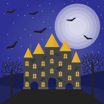 Ilustracja wektorowa halloween z nawiedzonym domem pełni księżyca drzewami i nietoperzami
