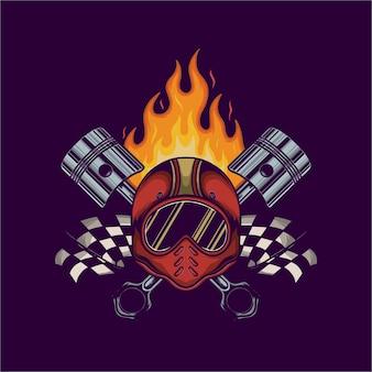Ilustracja wektorowa hełmu tłoka i ognia