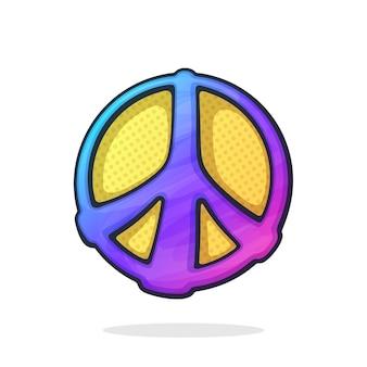Ilustracja wektorowa hipisi kolorowy symbol pokoju znak pacyfizmu i wolności