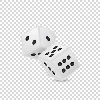 Ilustracja wektorowa ikony biały realistyczne gry w kości w locie zbliżenie na białym tle na tle siatki przezroczystości. szablon projektu hazardu w kasynie dla aplikacji, strony internetowej, infografiki, reklamy, makiety itp.