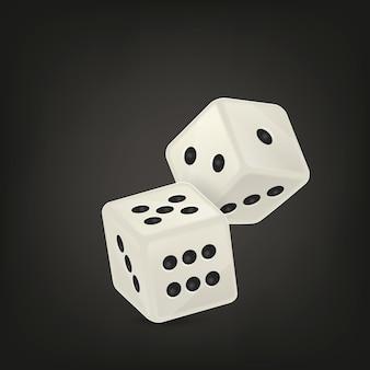 Ilustracja wektorowa ikony biały realistyczne gry w kości w locie zbliżenie na czarnym tle. szablon projektu hazardu w kasynie dla aplikacji, strony internetowej, infografiki, reklamy, makiety itp.