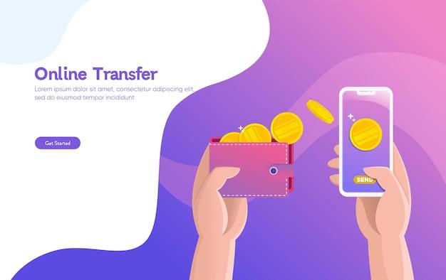 Ilustracja wektorowa ilustracja przelewu pieniędzy online