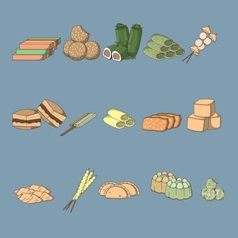 Ilustracja wektorowa indonezyjski pakiet żywności