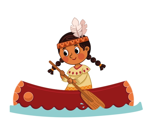 Ilustracja wektorowa indyjskiej dziewczyny z kajakiem